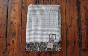 Foxford aqua and cream check blanket www.waringsathome.co.uk