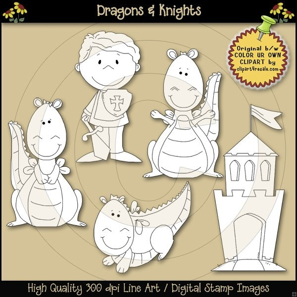 Dragons & Knights Line Art / Digital Stamps