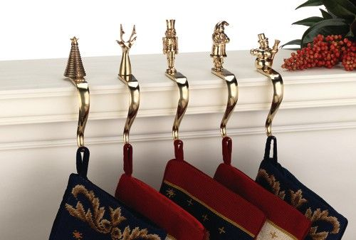 52 best christmas images on pinterest solid brass for Brass stocking holders fireplace