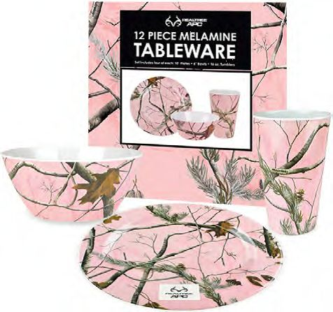 Set Includes 4 Plates, 4 Bowls,4 Tumblers. Plates are 10 inch diameter. Set is durable melamine in attractive Real Tree pink pattern.