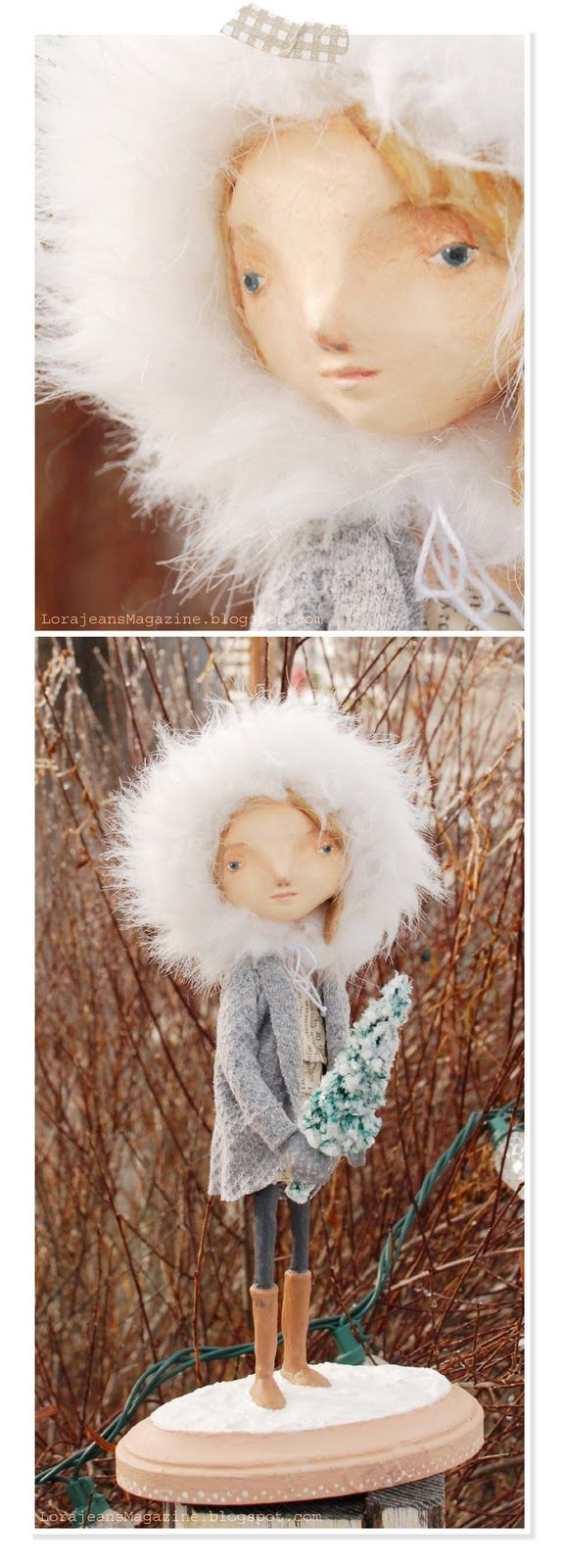 Papier mache doll--winter