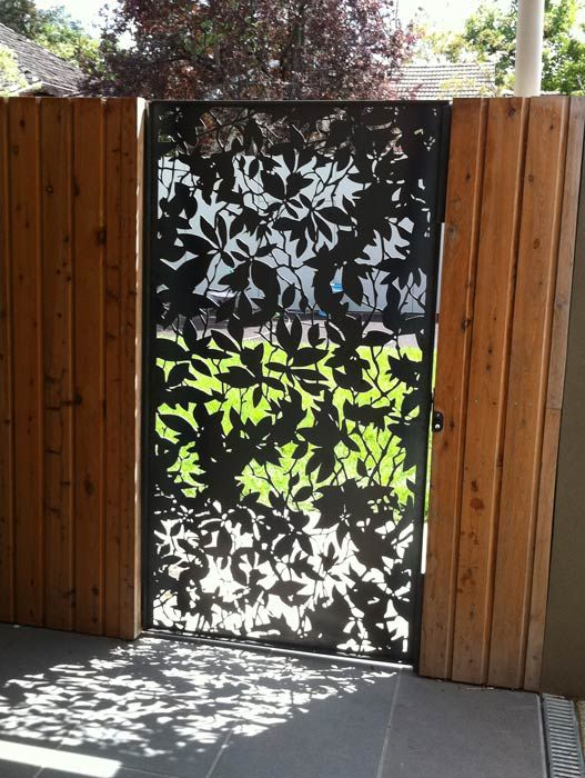 Metal Fence Melbourne - Steel Fencing Panels Melbourne | PLR Design Pierre Le Roux design. Olinda Leaves gate