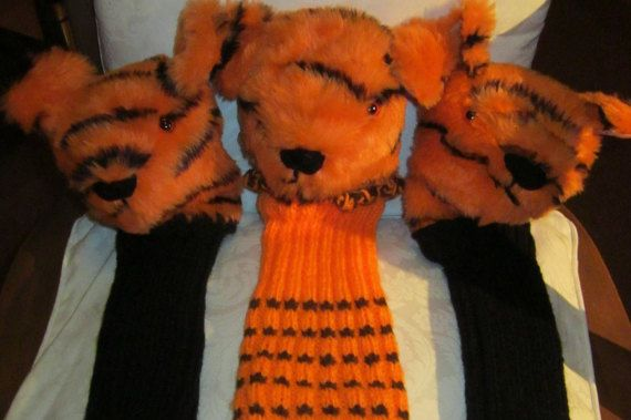 Golf Club Cover,Tiger Head Animal Print Plush,Orange Fabric Novelty Gift,Unusual Present,Gift Basket Filler,Unisex Golfing Aid,Special Gift.