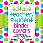 Editable Teacher or Student Binder Covers with Spines:  These bright and colorful covers with chevron and multi-colored polka dots will surely live...