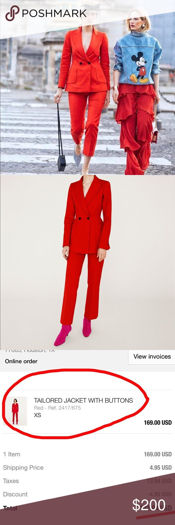 Brand New Red Zara Suit Brand New Red Zara Suit in XS. I purchased this suit few months ago and never got a chance to wear it so, it's just been sitting in my closet. I purchased the blazer online for $182 with taxes (I posted an image of the receipt.) I got the pants in store for about $86 with taxes. The suit is GORGEOUS. If you wear XS, it'll look like a tailored/custom made suit. You can dress it up with heels for NYE or any event or down with trainers and a tshirt inside.  Definitely…