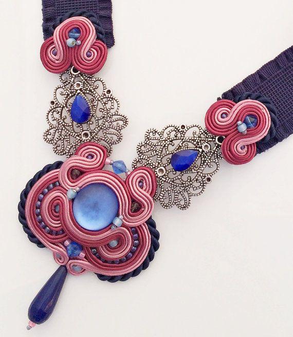 soutache necklace, navy pink statement necklace, collana soutache, collier soutache, collar soutache