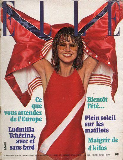 Maillot sportif Speedo en couverture de  Elle n°1688 du 15 mai 1978, photo Fouli Elia
