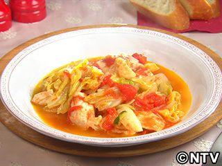 鶏胸肉とキャベツの洋風トマト蒸しのレシピ|キユーピー3分クッキング
