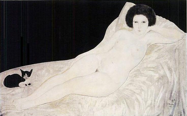 Leonard Foujita「横たわる裸婦と猫」(1921)