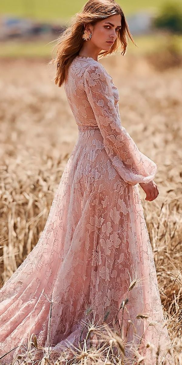 5e7f165bdb9 21 Amazing Boho Wedding Dresses With Sleeves