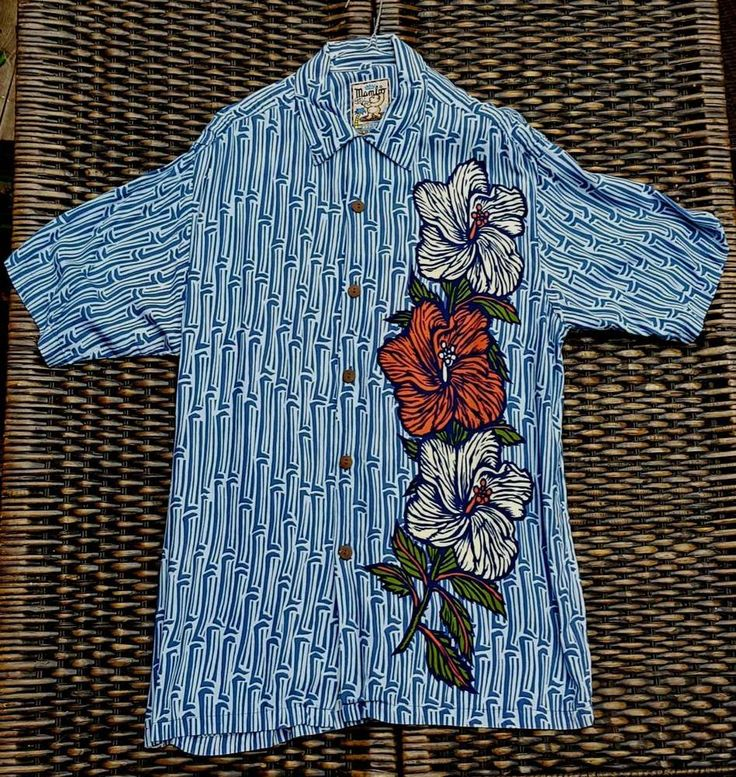 LIKE ALL MAMBO LOUD SHIRTS- FITS TO A GOOD LARGE SIZE UP FROM WHATEVER SIZE STATED! BLUE BAMBOO & HIBISCUS FLOWERS. MAMBO LOUD SHIRT. SIZE MEDIUM. size- armpit to armpit around 62cm. length- top of collar to bottom hem around 84cm. | eBay!