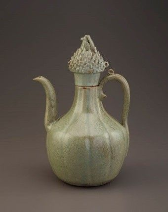 1907: Freer acquires the Horace Allen collection of Korean and Chinese ceramics, adding more than eighty examples—including this Korean ewer with a celadon glaze—to his growing collection of East Asian wares.   Ewer; Korea, Goryeo period, late 11th–early 12th century; stoneware with celadon glaze; Gift of Charles Lang Freer; F1907.286a–b