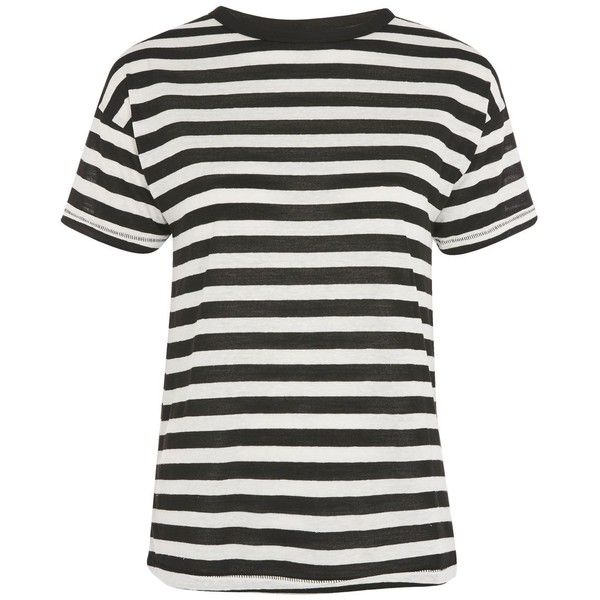 TopShop Bold Stripe Marl T-Shirt ($28) ❤ liked on Polyvore featuring tops, t-shirts, monochrome, striped top, marled tee, stripe tee, white stripes t shirt and white striped t shirt