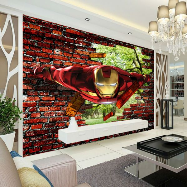 Superhero Bedroom Wallpaper Bedroom Accessories Bedroom Ideas Young Couple Bedroom Furniture Floor Plan: 3D Iron Man Wallpaper Avengers Photo Wallpaper Custom Wall