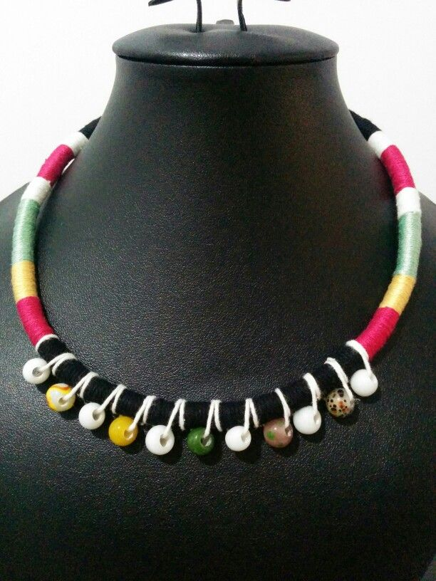 Choker rope necklace wrapped with Indonesian beads. Perfect!