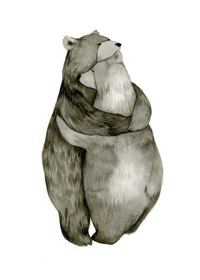 This really is the sweetest. // Bear Hug Love Original Illustration Print by CatherineLazarOdell