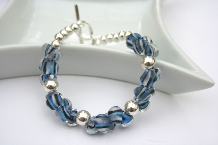 GORGEOUS sterling silver and beaded bracelet!  Boro Bead Sterling Silver Bracelet by 2BeadingHeartsJewels on Etsy
