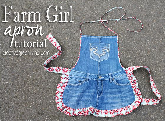 Make a cute apron from an old pair of jeans.
