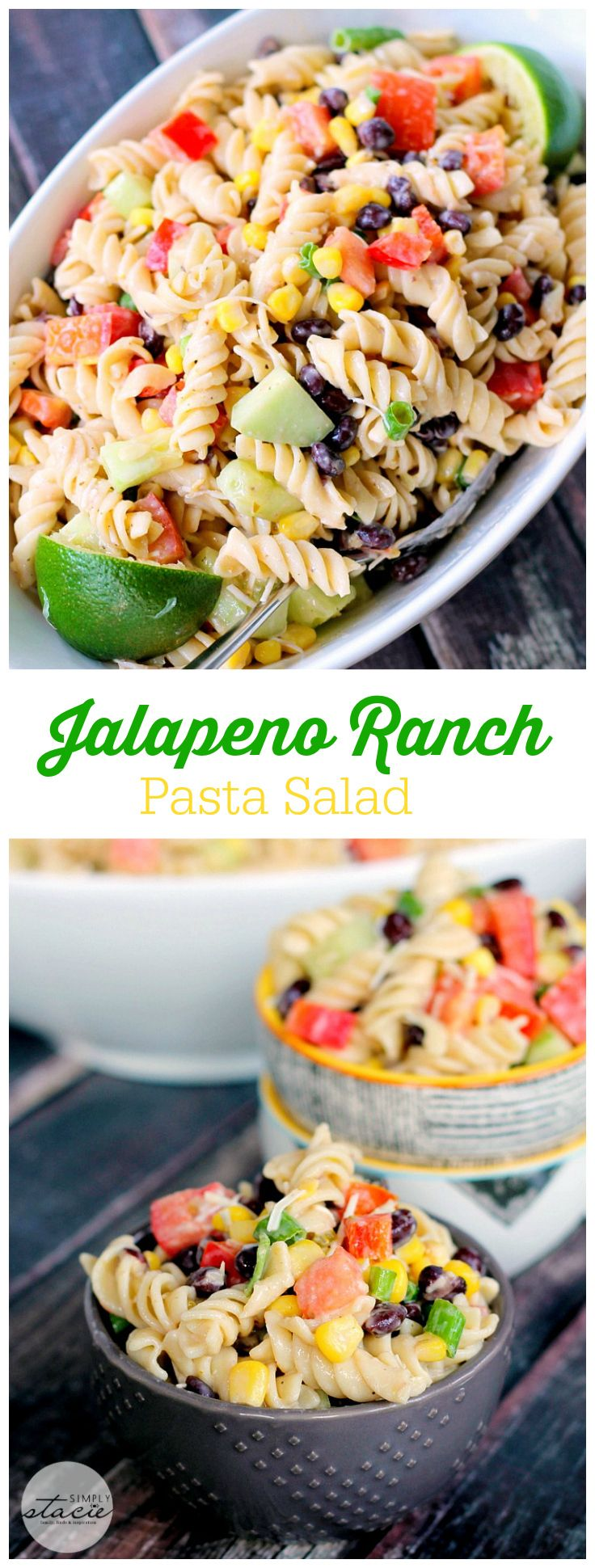 Jalapeno Ranch Pasta Salad - Smothered in a creamy, homemade ranch dressing with a kick of flavour. It's loaded with veggies and black beans to give it a southwest edge.