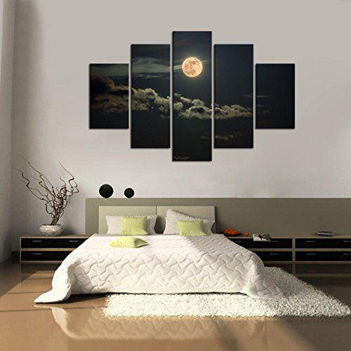 Impresión En Nuevo Para Pared Decoración Para Hogar Sala Cocina Dormitorio Cielo de Noche Luna (sin marco o bastidor) #cuadros #modernos