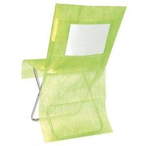 Housse de chaise intissé vert anis personnalisable les 10, déco de table, déco festive, baby shower, baptême, mariage, fêtes