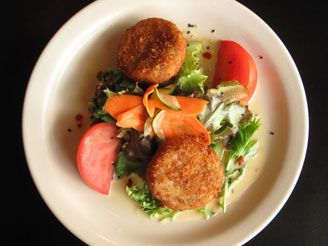 CRAB CAKES  WITH HONEY-MISO VINAIGRETTE  FROM CAFÉ PESTO, KAWAIHAE (RECIPE) — We've had these at the restaurant several times and really enjoyed them. They're a favorite.    ヅ  ❀HPVR❀