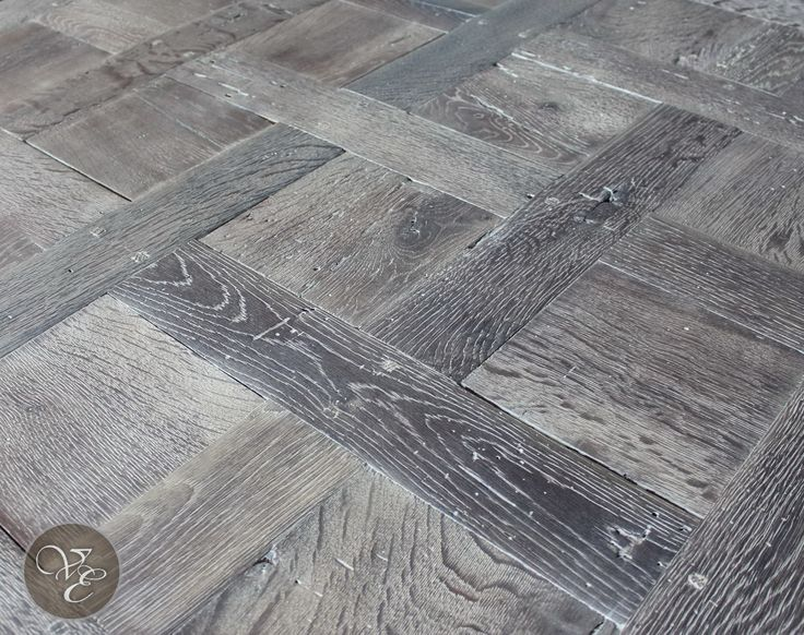 French Parquet Chantilly and Versailles Handcrafted parquet floor created from either reclaimed European oak or reclaimed French oak.  Heavily brushed, handsculpted, fumed or smoked, lime-washed an...