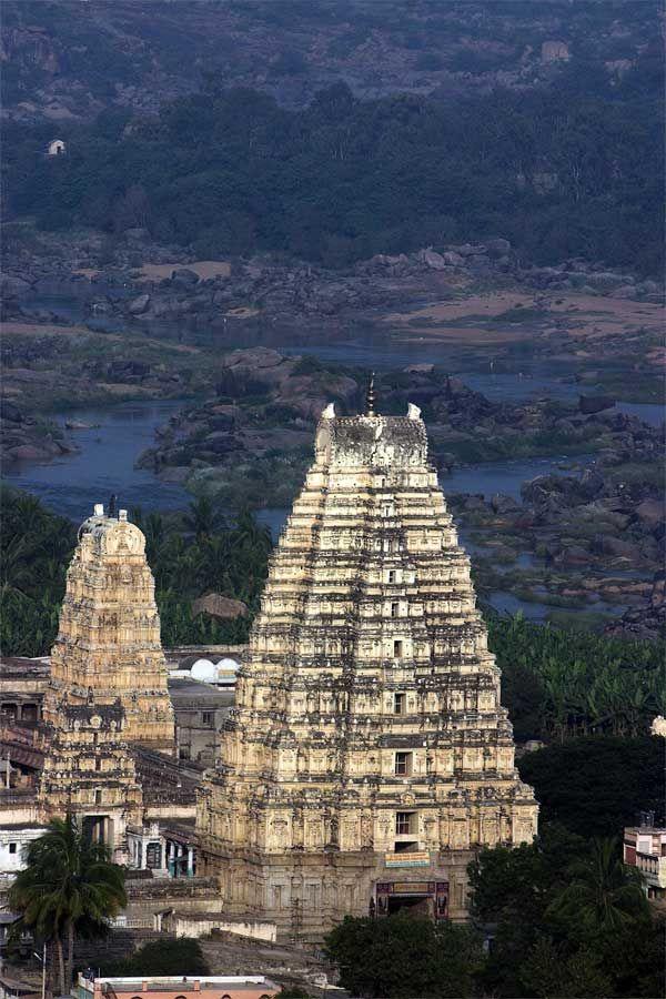 Virupaksha Temple situated on the banks of Tungabhadra river, Hampi, Karnataka, India.