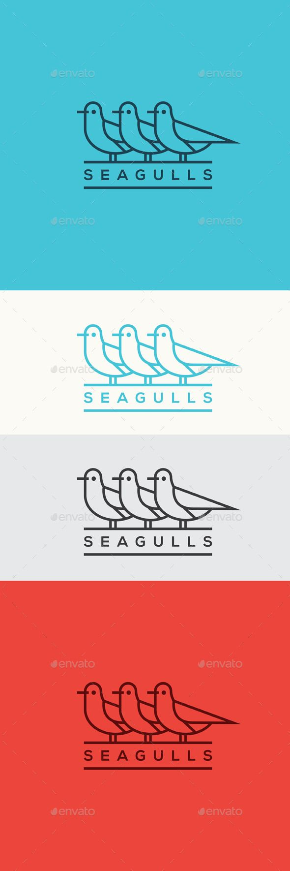Seagulls Logo Template Vector EPS, AI #logotype Download: http://graphicriver.net/item/seagulls/11459425?ref=ksioks
