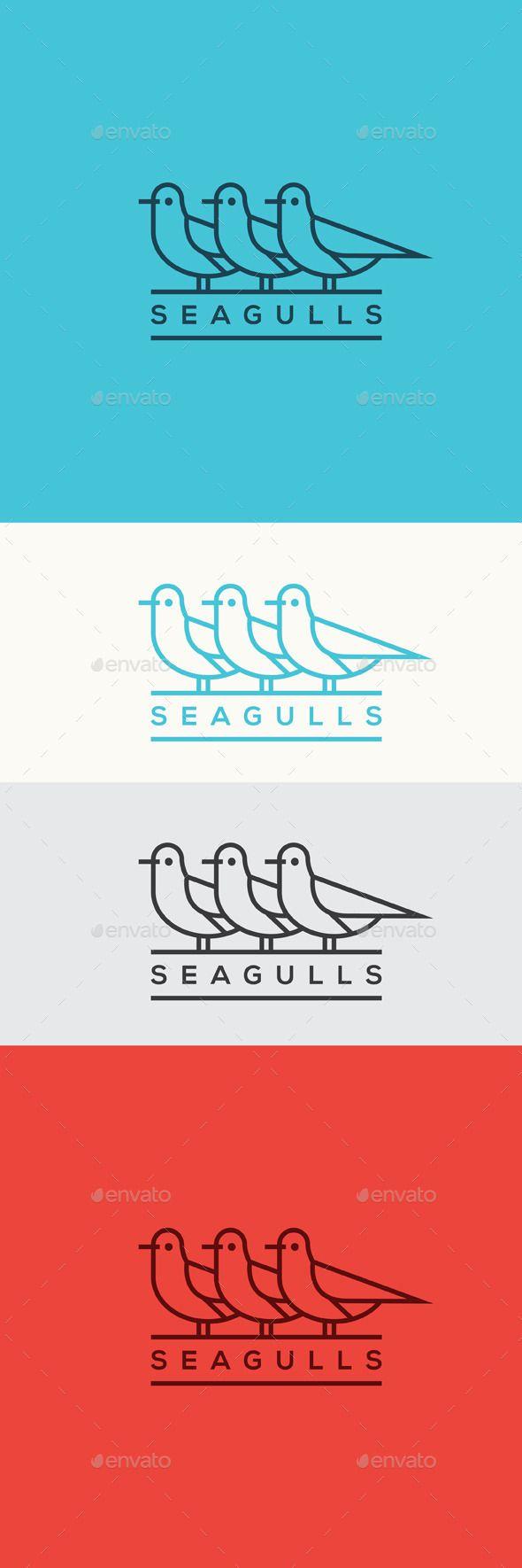 Seagulls Logo Template Vector EPS, AI #logotype Download: http://graphicriver.net/item/seagulls/11459425?ref=ksioks