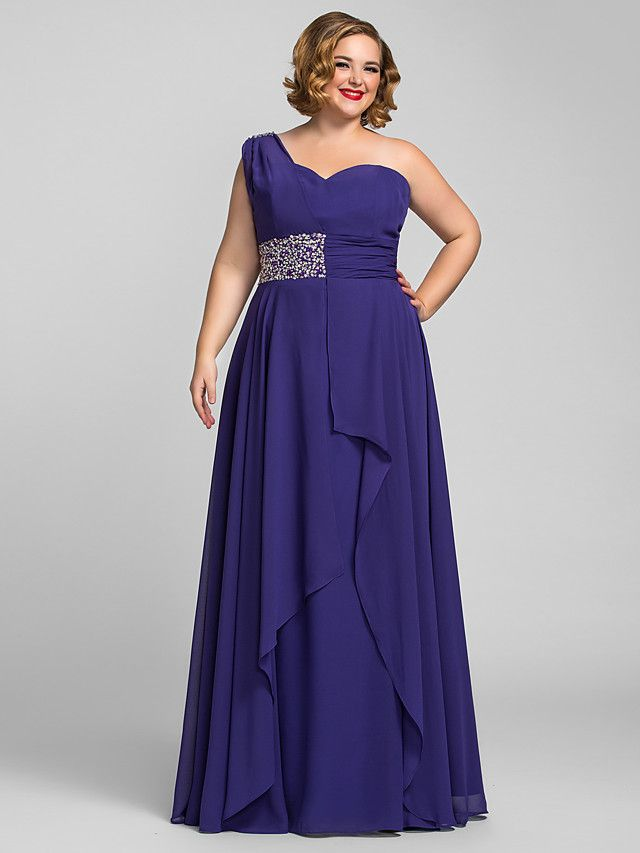 TS Couture Formal Evening / Prom / Military Ball Dress - Regency Plus Sizes / Petite A-line One Shoulder Floor-length Chiffon - USD $109.99