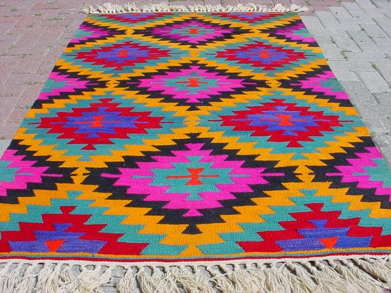 "VINTAGE Turkish Kilim Rug Carpet, Handwoven Kilim Rug,Antique Kilim Rug,Decorative Kilim, Natural Wool  45,6"" X 72"""
