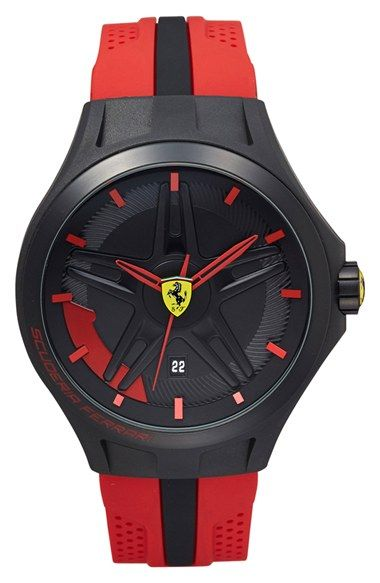 Scuderia Ferrari 'Lap Time' Silicone Strap Watch, 45mm available at #Nordstrom