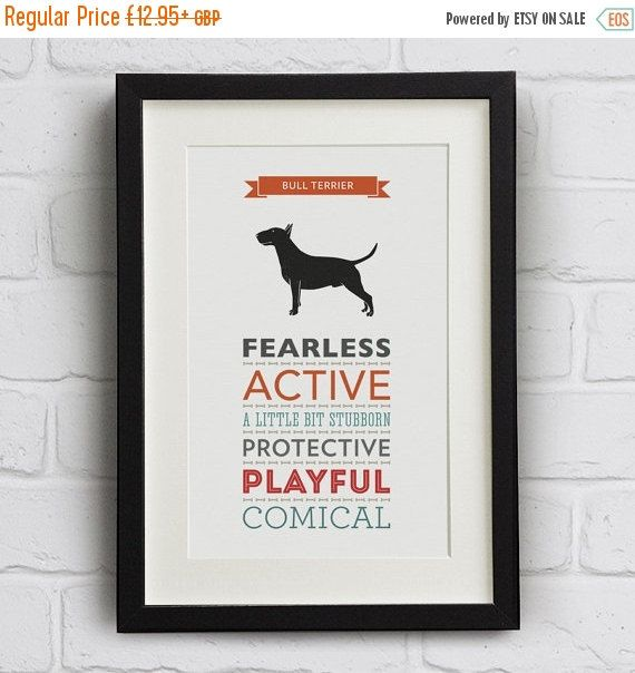 WINTER SALE- 20% OFF: Bull Terrier Dog Breed Traits Print - Great Gift for Bull Terrier Lovers!