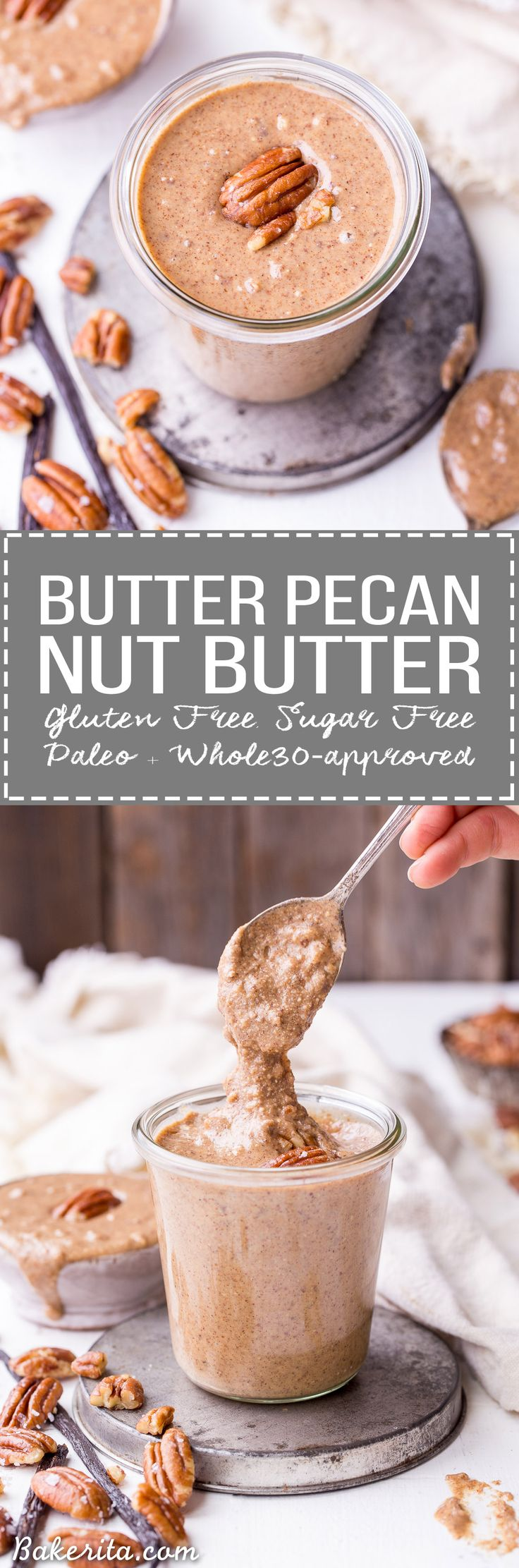 This Butter Pecan Nut Butter is smooth and creamy, with crunchy pecan bits stirred in and all the butter pecan flavor you love! This simple-to-make spread is perfect on oatmeal, fruit, toast, or just eaten with a spoon. It's gluten free, sugar free, paleo, and Whole30-approved.
