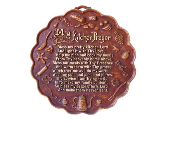 Vintage Wall Decor Plaque My Kitchen Prayer by MargsMostlyVintage