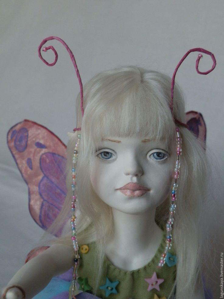 Купить Анна - кукла, девочка, бабочка, бледно-розовый, флюмо, батист 100%, трессы ангорки