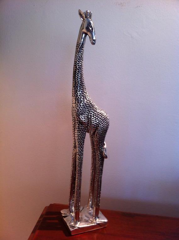 Chrome Metal Giraffe Statue Abstract Modern African