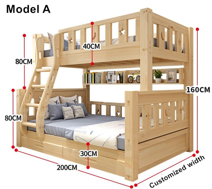 Online Shop Louis Fashion Children Bunk Bed Real Pine Wood with Ladder Stair Dra…