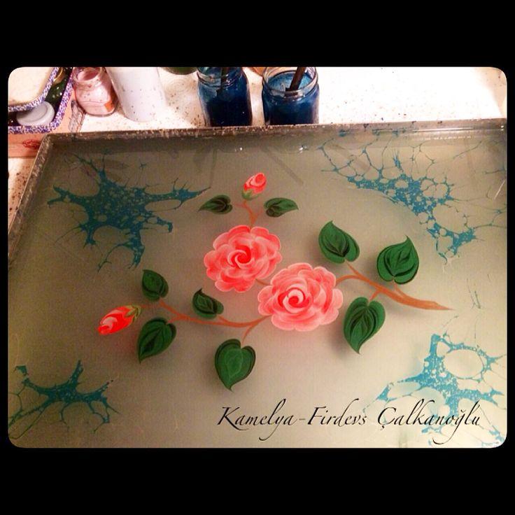 Kamelya Çiçeği. Camellia flowers. Marbling Artist-Firdevs Çalkanoğlu