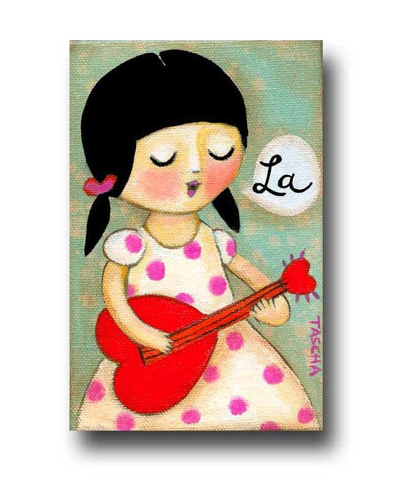 ORIGINAL guitar playing girl musician LOVE heart Valentine acrylic painting on canvas by TASCHA