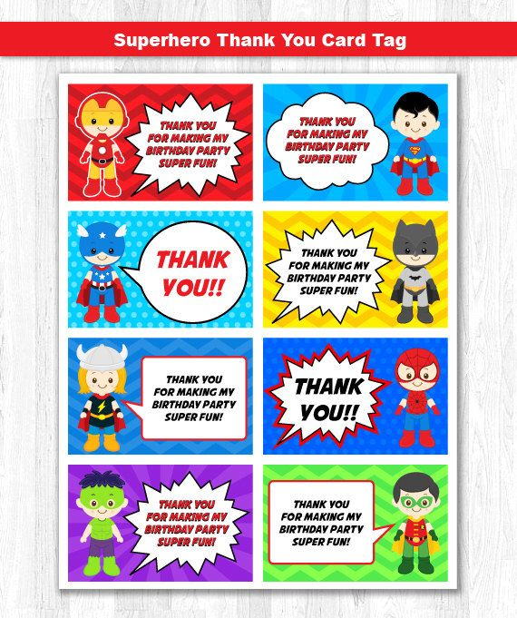 Superhero Thank You Tag, Superhero Thank You Card, Superhero Thank you Label, Superhero Thank you Note by KidzParty on Etsy https://www.etsy.com/listing/218166822/superhero-thank-you-tag-superhero-thank