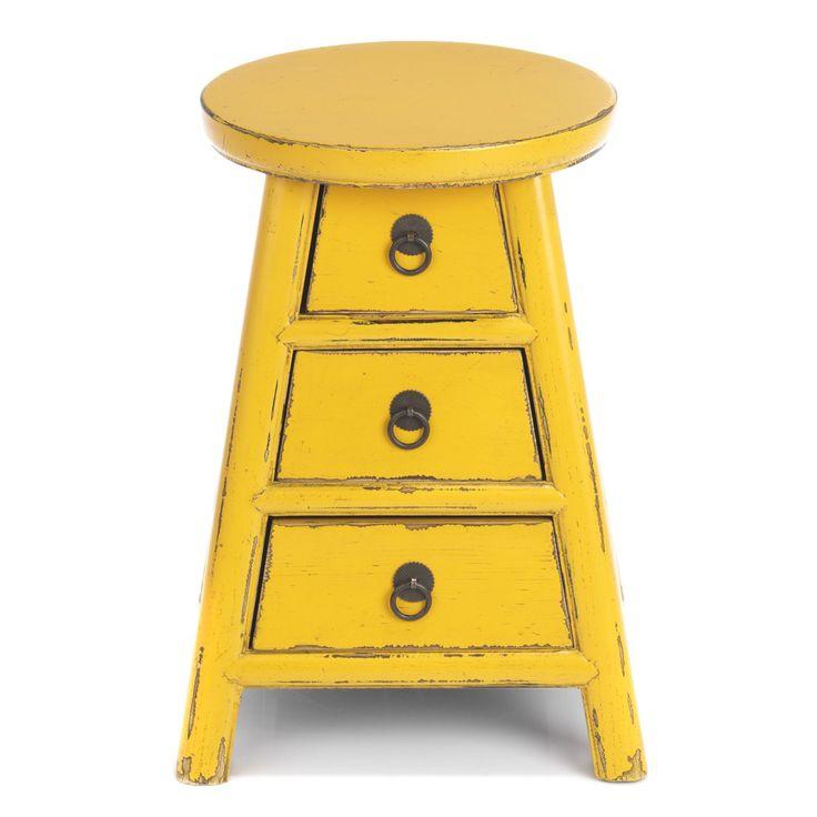 Table De Chevet 3 Tiroirs Jaune Cosmo Les Tables De Chevet Chambre Decoration D Interieur Alinea Meuble Table De Chevet