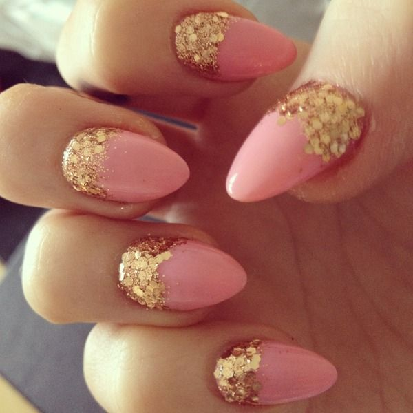 these almond nails are not really my thing, but these are short and girly enough to be cute