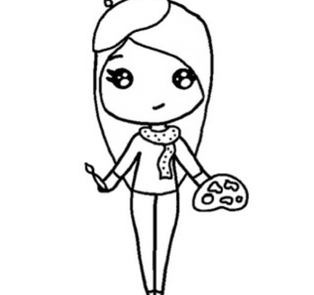 Instagram Chibi Girl Drawing Sketch Coloring Page