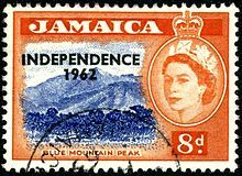A 1956 stamp of Jamaica overprinted for INDEPENDENCE in 1962.