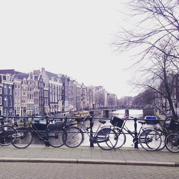 Bikes along a canal in Amsterdam, Netherlands