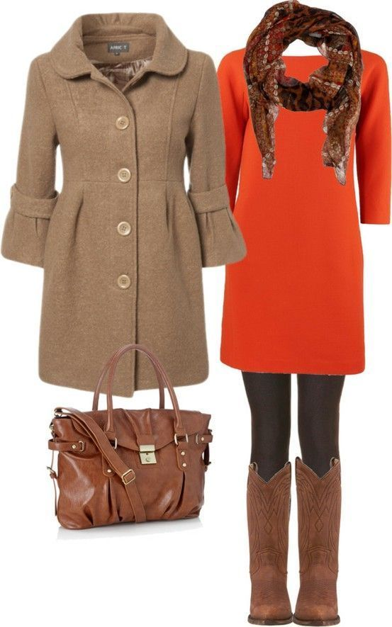 Fall / Winter Women Fashion Trends What a cute dress coat.  The orange dress sets the coat off.