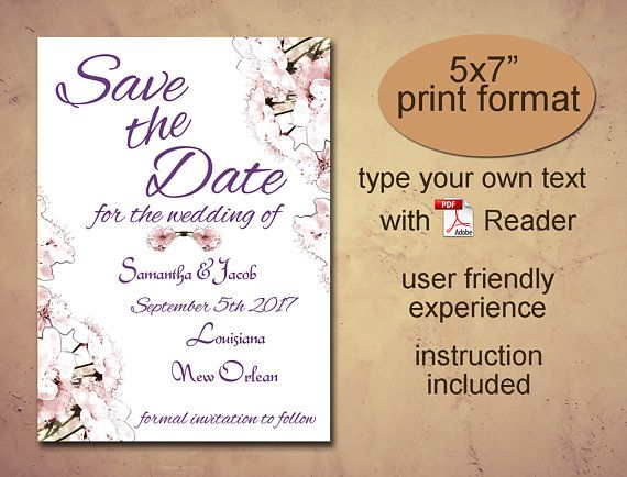 Save the date printable template Instant download diy