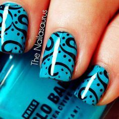 Blue nails with black dots and swirls Nail Design